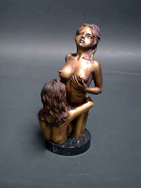 Image 2 of Female Lovers Bronze Sculpture