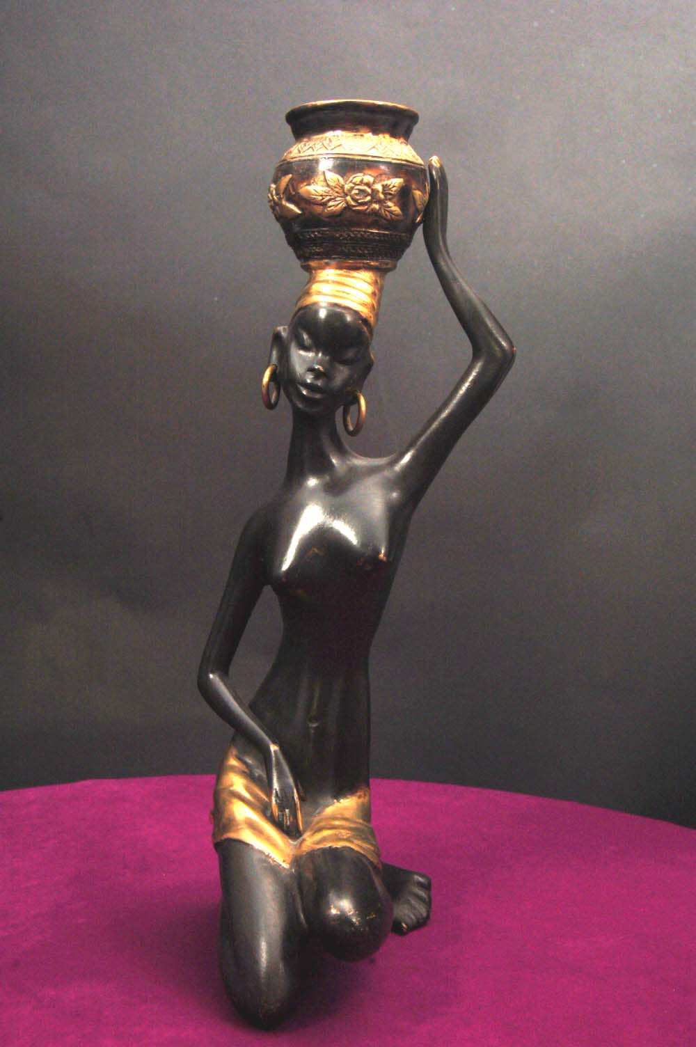 African Maiden Art Sculpture Figurine Blackamoor