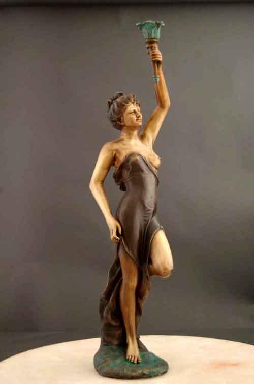 Image 0 of Bronze Candle Holder Art Deco Sculpture Large