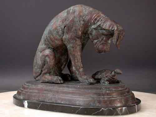Bronze Sculpture Dog & Turtle Curiosity