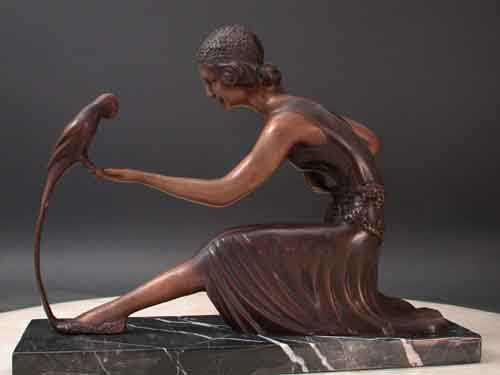 Image 0 of Bronze Sculpture Art Deco Girl w/ Parrot by Chiparus