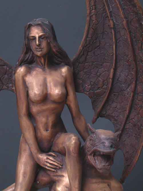 Image 1 of Bronze Female and Male Fantasy Sculpture