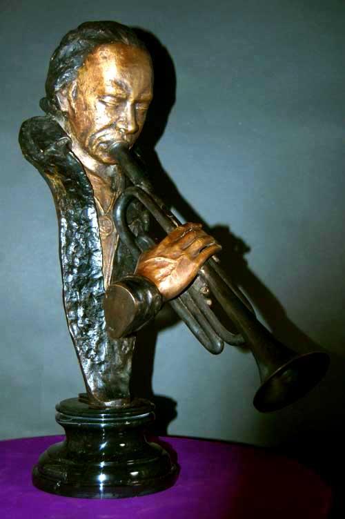 Miles Davis Bronze Bust Jazz Trumpeter Statue Sculpture