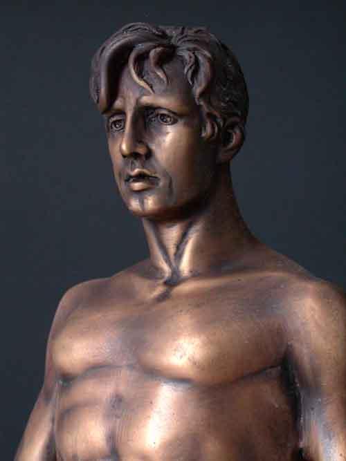 Bronze Man Sculpture Large Body Building Art