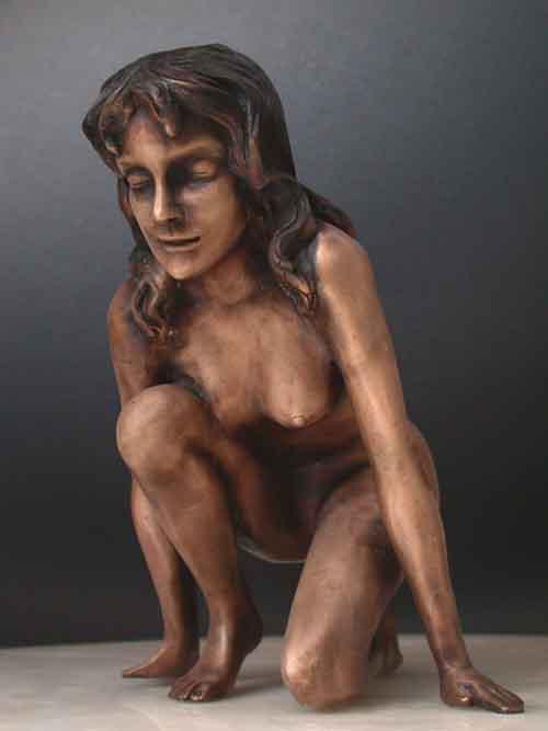 Bronze Lady Pounce Sculpture