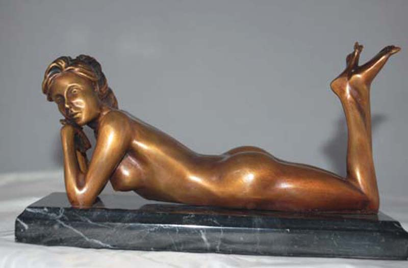 Relaxing Female Solid Bronze Sculpture