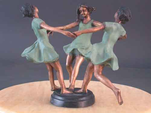 Image 0 of Bronze Centerpiece Sculpture Young Girls Dancing w/ Glass Vase